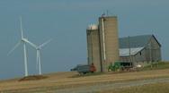 Wind turbines on rural farmlands   Stock Footage