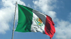 Flag of Mexico - Waving Over Time Laps Sky Stock Footage