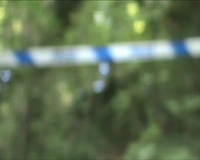 Police line focus pull Stock Footage
