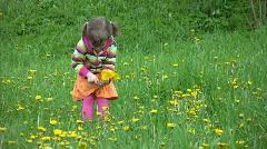 Little girl gathering field flowers in forest Stock Footage