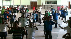 Malawi: aerobics training in an african school 1 Stock Footage