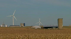 Green Wind Energy on Rolling Agriculture Farmland  Stock Footage