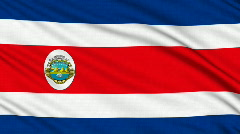 Costa Rica flag, with real structure of a fabric Stock Footage