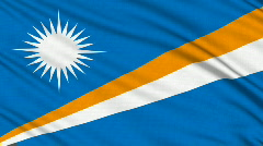 Marshall Islands flag, with real structure of a fabric Stock Footage