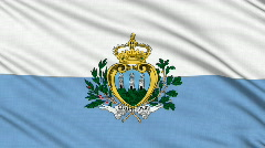 San Marino flag, with real structure of a fabric Stock Footage