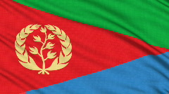 Eritrea flag, with real structure of a fabric Stock Footage