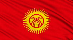 Kyrgyzstan Flag, with real structure of a fabric Stock Footage