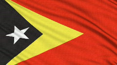 East Timor Flag, with real structure of a fabric Stock Footage
