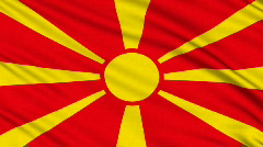 Macedonia Flag, with real structure of a fabric - stock footage