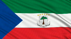 Equatorial Guinea Flag, with real structure of a fabric Stock Footage