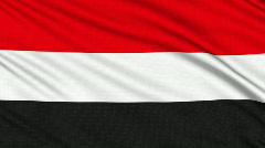 Yemeni flag, with real structure of a fabric - stock footage