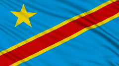 DR Congo Flag, with real structure of a fabric - stock footage