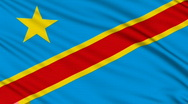 DR Congo Flag, with real structure of a fabric Stock Footage