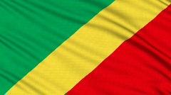Republic of the Congo Flag, with real structure of a fabric Stock Footage