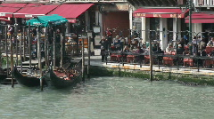 Sidewalk Cafe & Restaurants in Venice Italy Stock Footage