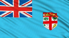 Fiji flag, with real structure of a fabric Stock Footage