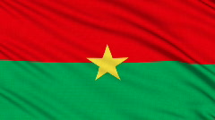 Burkina Faso flag, with real structure of a fabric - stock footage