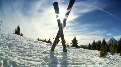 Crossed Carver Downhill Skis Stock Footage