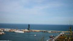 Barcelona sea beach coast urban city port harbour Stock Footage