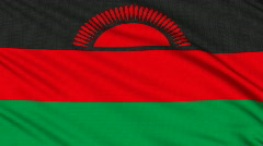 Malawi Flag, with real structure of a fabric Stock Footage