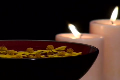 Zen Spa scene with flowers and candles V2- NTSC Stock Footage