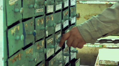 Hand And Storage Boxes 001 Stock Footage