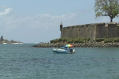 Puerto Rico - San Juan: people in pleasure boat and guerite 1 Stock Footage