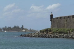 Puerto Rico - San Juan: guerite and old city walls Stock Footage