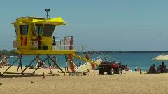 Lifeguard hut on beach, Maui Stock Footage
