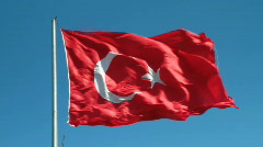 Flying Turkish flag  Stock Footage