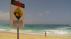 Sign, warning sign high surf danger, beach Stock Footage