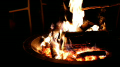 Camp Fire at Night Stock Footage