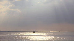 Sailboat sailing on sunbeam Stock Footage