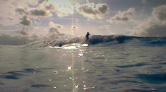 Surfer with  backlight Stock Footage