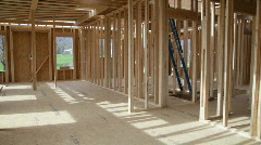 Pan of House Being Built Stock Footage