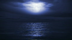 (1167) Blue Full Moon Tropical Ocean Waves Romantic Night Travel LOOP Stock Footage