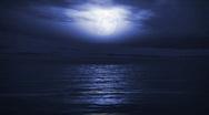 Stock Video Footage of (1167) Blue Full Moon Tropical Ocean Waves Romantic Night Travel LOOP