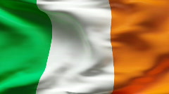 Stock Video Footage of Creased satin IRELAND  flag in wind in slow motion