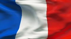 Stock Video Footage of Creased satin FRANCE  flag in wind in slow motion