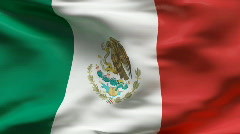 Creased satin MEXICAN flag in wind in slow motion - stock footage