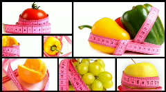 Fruits and vegetables with measuring tape montage - stock footage