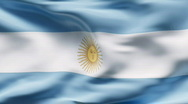 Stock Video Footage of Creased satin ARGENTINIAN  flag in wind in slow motion