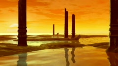 The Golden Planet with ruins Stock Footage