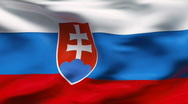 Stock Video Footage of Creased satin SLOVAKIAN  flag in wind in slow motion