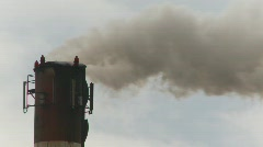 agriculture, sugar refinery smoke stack  - stock footage