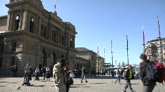 continual coming and going at train station (time relapsed) - stock footage