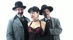 Famous characters - 3 - Big Nose Kate flirts with Doc and Wyatt Stock Footage