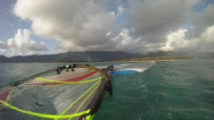 POV Windsurfing Wide Angle Stock Footage