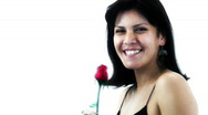 Sexy Brunette Beauty and a rose - 3 - happy and giggles Stock Footage