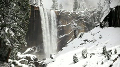 Stock Video Footage of Vernal Fall covered in Snow, Yosemite